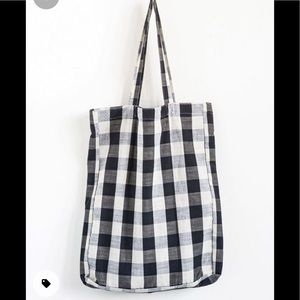 Leather Wool Linen Gingham Print Tote